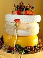 Wedding cake made of cheese rounds